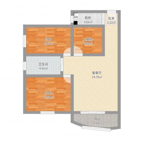 华港花园3室2厅1卫1厨79.00㎡户型图