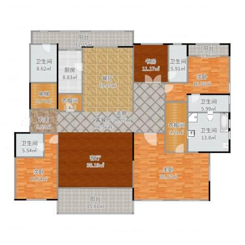 九龙仓国宾1号4室2厅5卫1厨347.00㎡户型图