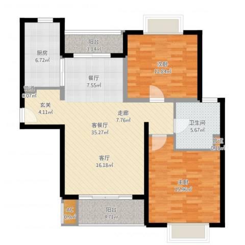 达安春之声花园2室2厅1卫1厨122.00㎡户型图