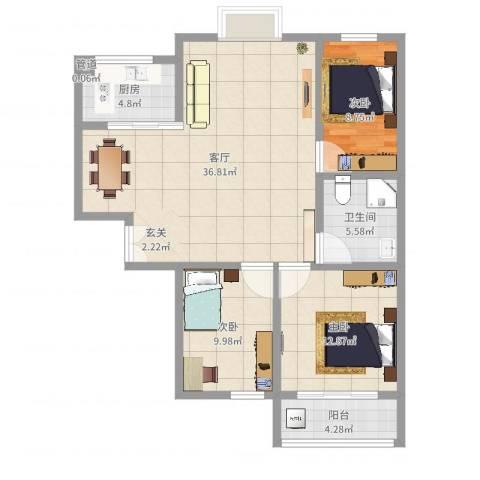 高速仁和盛庭3室1厅1卫1厨104.00㎡户型图
