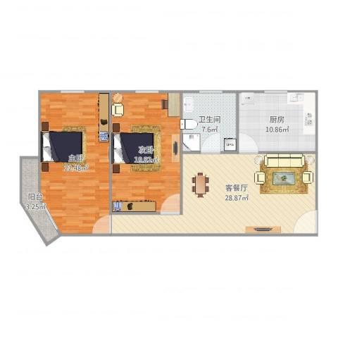 明佳公寓2室2厅1卫1厨124.00㎡户型图