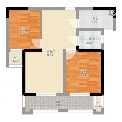 桂花公寓2室2厅1卫1厨67.00㎡户型图