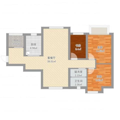 都市兰亭3室4厅1卫1厨114.00㎡户型图