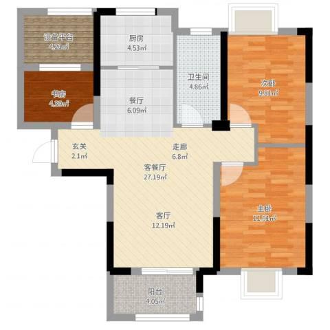 平安光谷春天3室2厅1卫1厨89.00㎡户型图