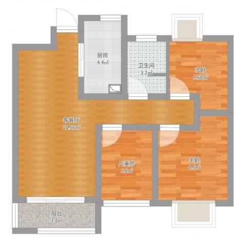 旭辉苹果乐园89平方3室2厅1卫1厨65.00㎡户型图