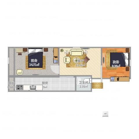 富满里1室1厅1卫1厨61.00㎡户型图