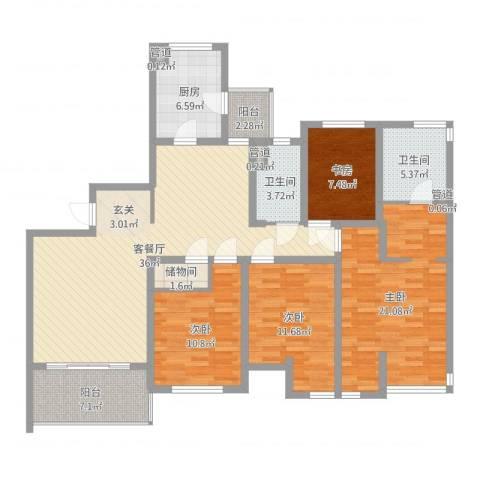东湖大郡三期4室2厅2卫1厨143.00㎡户型图