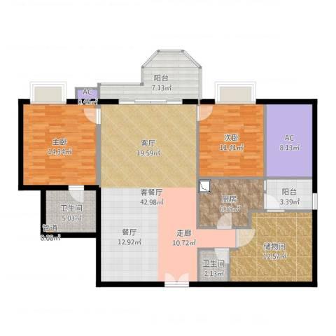珠江广场2室2厅2卫1厨114.43㎡户型图