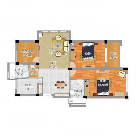 恒厚阳光城2室1厅2卫1厨114.00㎡户型图