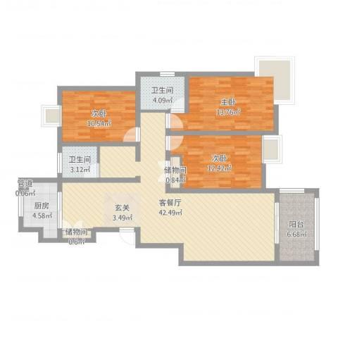 如意花园3室2厅2卫1厨99.20㎡户型图