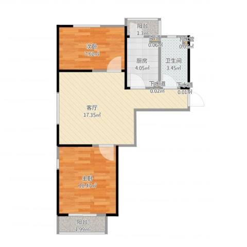 华丰家园2室1厅1卫1厨80.00㎡户型图