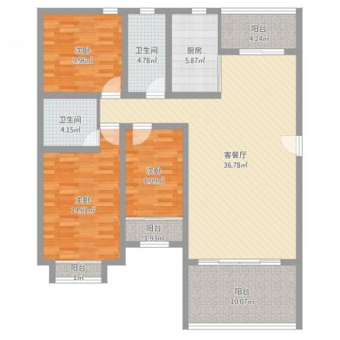 名仕园3室2厅2卫1厨100.87㎡户型图