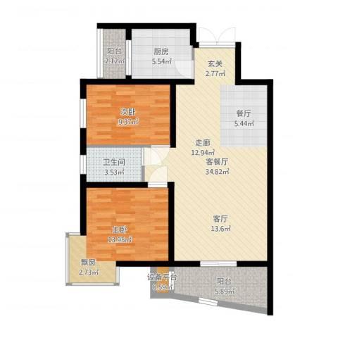 旭景碧泽园2室2厅1卫1厨108.00㎡户型图