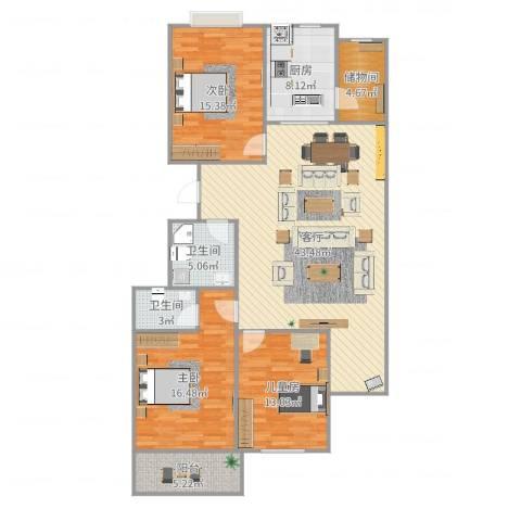 长治县阳光花园3室1厅2卫1厨143.00㎡户型图