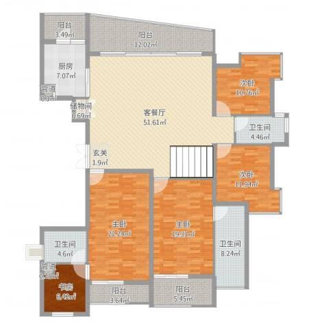 金地荔湖城5室2厅3卫1厨216.00㎡户型图