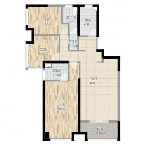 绿地海域苏河源3室1厅3卫1厨111.00㎡户型图