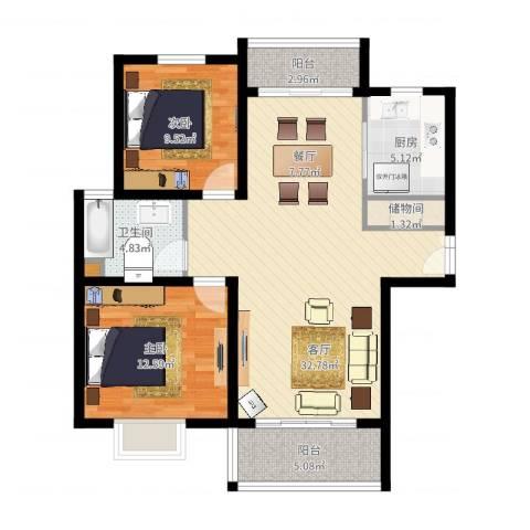 中环锦园2室1厅1卫1厨107.00㎡户型图
