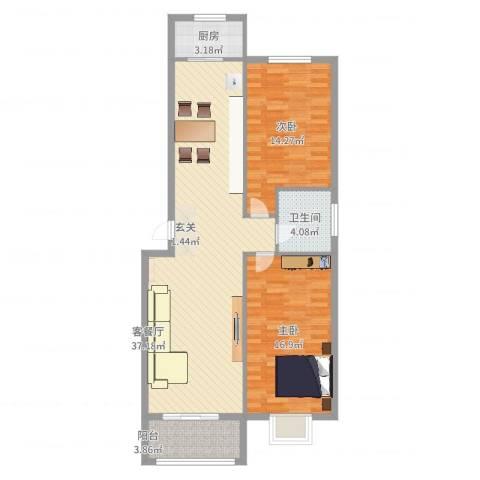 盛景华庭2室2厅1卫1厨99.00㎡户型图