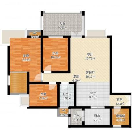 森岭居3室2厅1卫1厨123.00㎡户型图