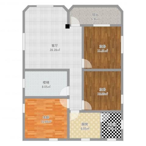 汇星名庭3室1厅2卫1厨110.00㎡户型图