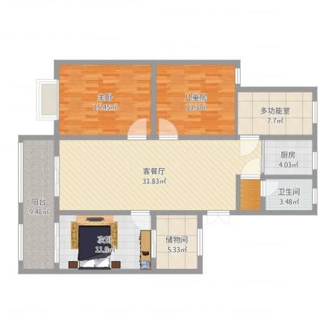 温馨花园3室2厅2卫1厨130.00㎡户型图