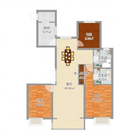开元翡翠湾3室1厅2卫1厨132.00㎡户型图