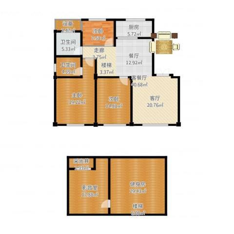 锦麟瓜渚御景园3室2厅2卫1厨208.00㎡户型图