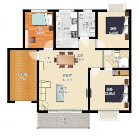 景香苑3室2厅2卫1厨109.00㎡户型图