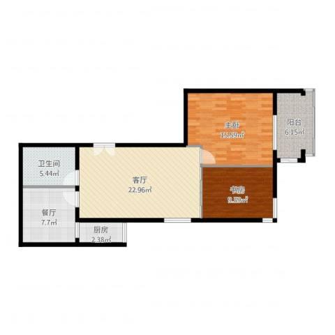远洋德邑2室2厅1卫1厨98.00㎡户型图