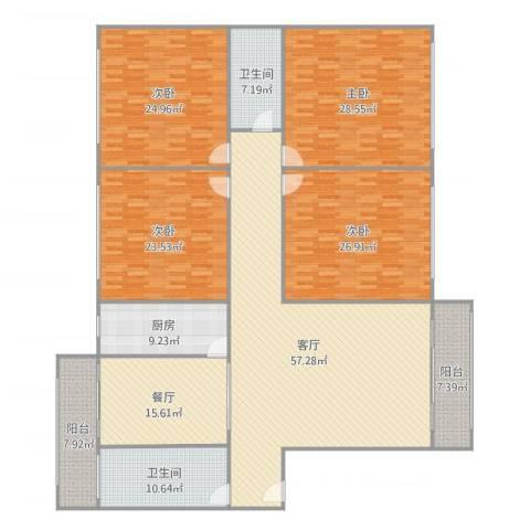 鸿运小区4室2厅2卫1厨274.00㎡户型图