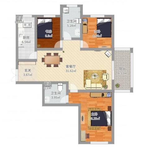 楚河花园3室2厅2卫1厨128.00㎡户型图