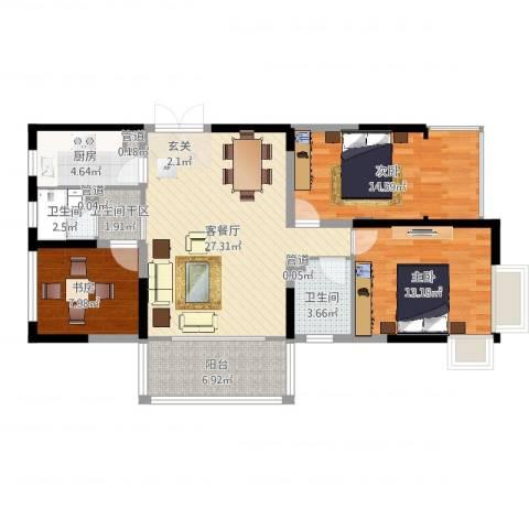 大唐世纪豪庭3室2厅2卫1厨104.00㎡户型图