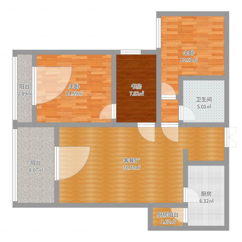 三室两厅一厨一卫两阳台