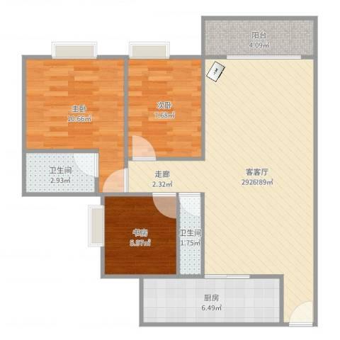 荔湾汾水花园3室1厅2卫1厨94.00㎡户型图