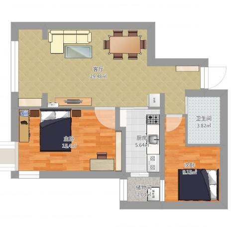 北苑家园绣菊园2室1厅1卫1厨82.00㎡户型图