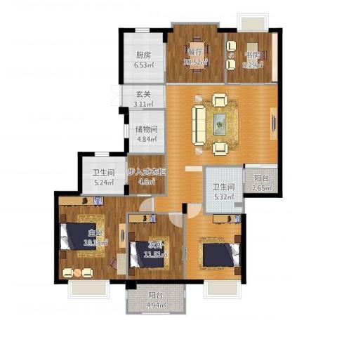 栖霞栖园3室1厅2卫1厨166.00㎡户型图