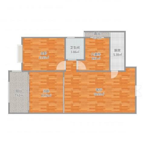 盛世华庭3室1厅1卫1厨106.00㎡户型图