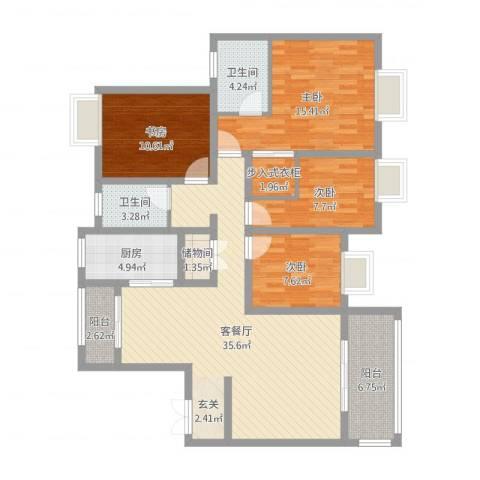 商城凤凰印象4室2厅2卫1厨128.00㎡户型图