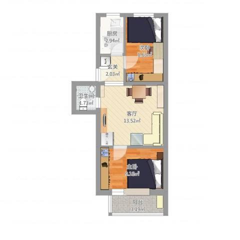 农光南路2室1厅1卫1厨51.00㎡户型图