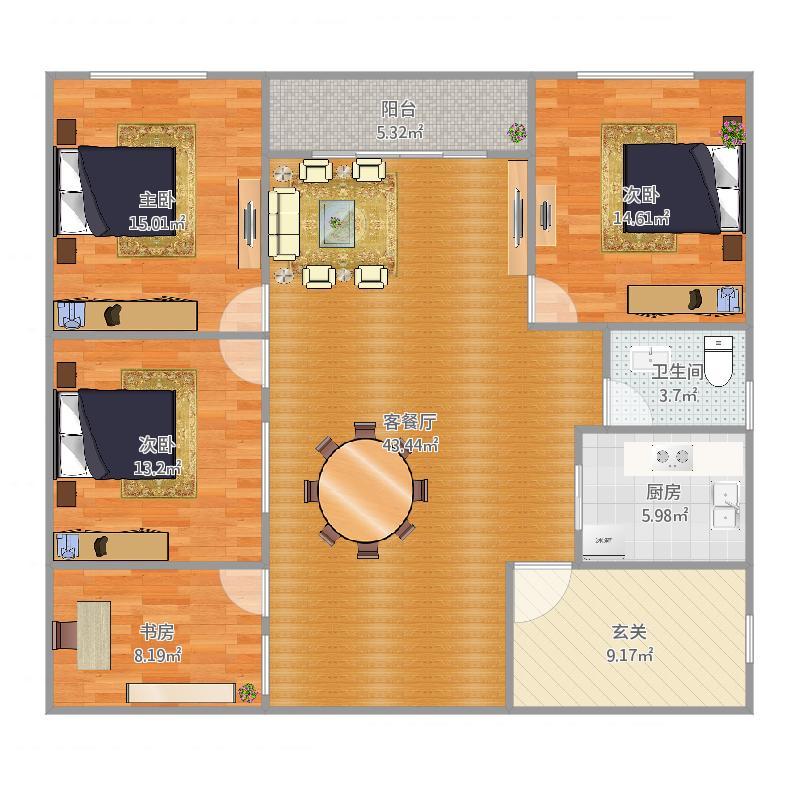 二楼南头套房(长9m+1.5m飘出)*12m
