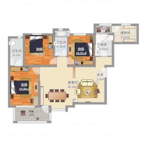 联盟新城3室2厅2卫1厨141.00㎡户型图