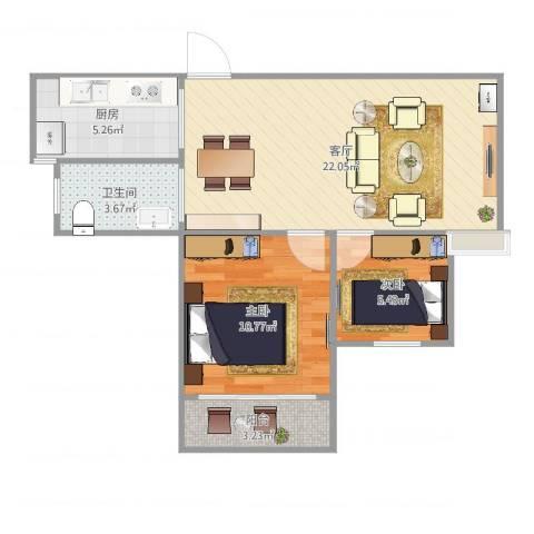 新城花园45-1-23022室1厅1卫1厨63.00㎡户型图