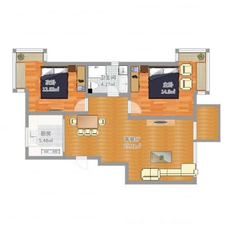 亿达国际新城2室2厅1卫1厨87.00㎡户型图