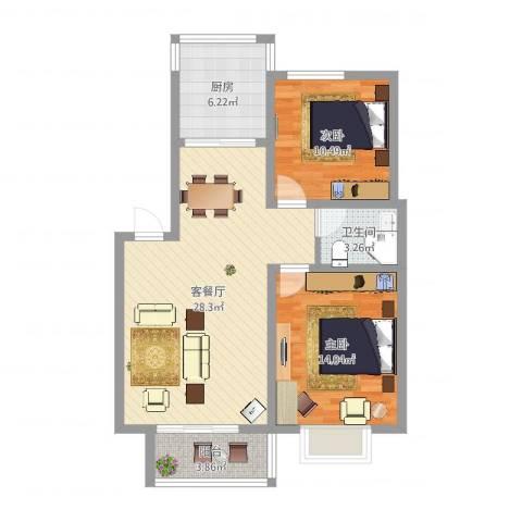 正康花园2室2厅1卫1厨83.00㎡户型图