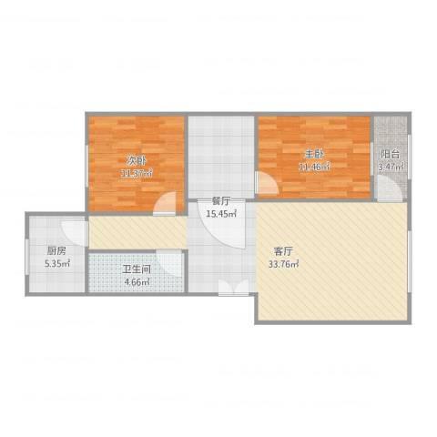 家和花园2室1厅2卫1厨96.00㎡户型图