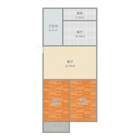 葡萄园小区2室2厅1卫1厨99.00㎡户型图