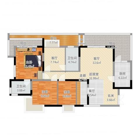 怡丰苑3室1厅2卫1厨140.00㎡户型图