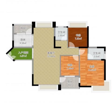 中惠金士柏山3室2厅2卫1厨119.00㎡户型图