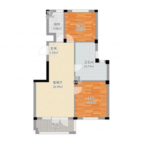 金海温泉小镇2室2厅1卫1厨87.00㎡户型图