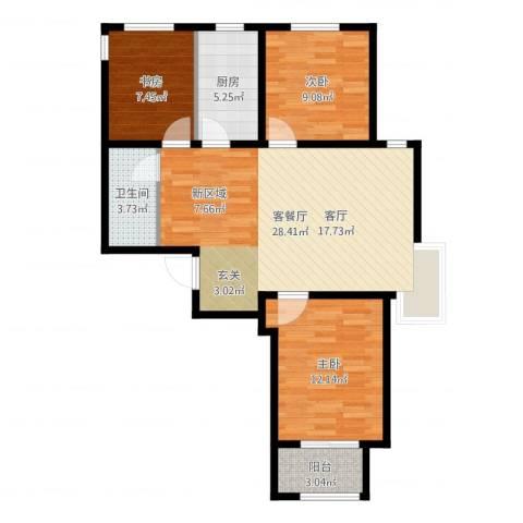 石家庄兰亭3室2厅1卫1厨86.00㎡户型图